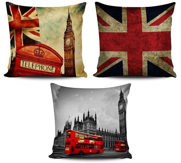 Conjunto 3 Almofadas Decorativas 45x45 com enchimento Londres