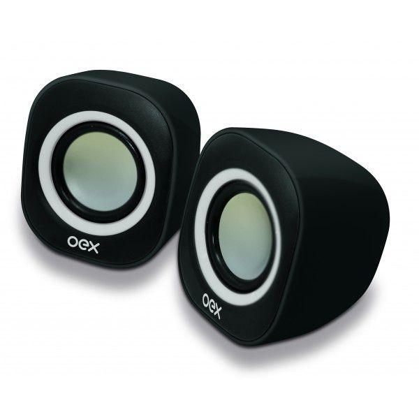 Caixa de Som Speaker Oex Round USB, P2, Adicional 6W SK-100 Preto/Branco