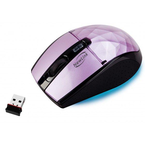 Mouse Sem Fio NewLink Diamond Roxo MO-111