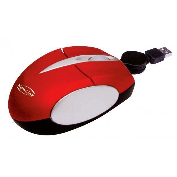 Mini Mouse Retrátil NewLink Soft Vermelho MO-308