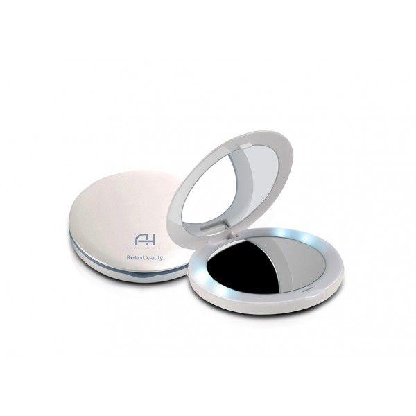 Espelho de maquiagem portátil com luz LED Ana Hickmann Pocket Mirror USB RB-EL1275 Relaxbeauty