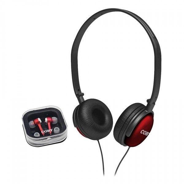 Kit com 2 fones de ouvido (headphone + earphone) vermelha - CV140 - Coby