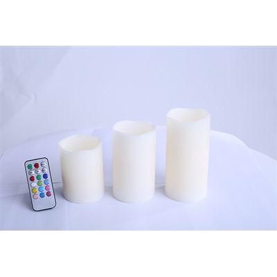 Kit Vela Decorativa Led com 3 Velas Multi Colorida Com Controle Remoto RM-VL0009 - Relaxmedic