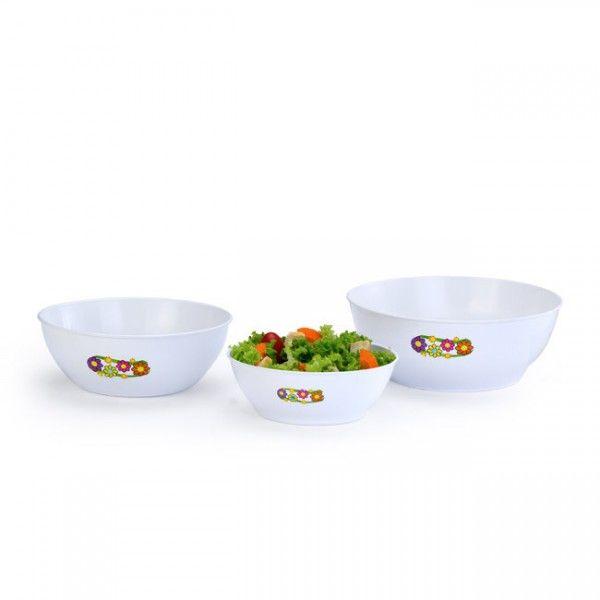 Kit com 3 Saladeiras Mariplast dos Tamanhos P/M/G Brancas 224