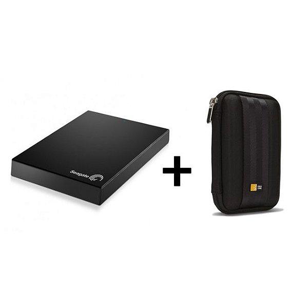 Kit HD Externo Expansion USB 3.0 1TB Preto Seagate + Case para HD Portátil QHDC101 Preto Case Logic