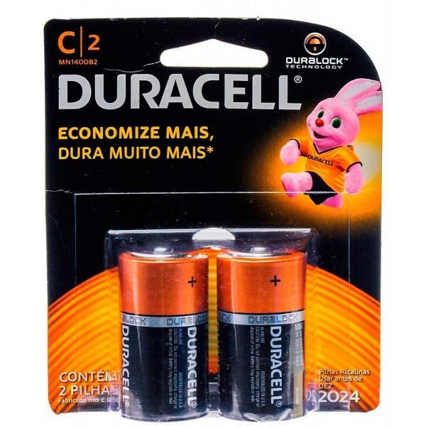 Pilha Alcalina Média C com 2 unidades - Duracell