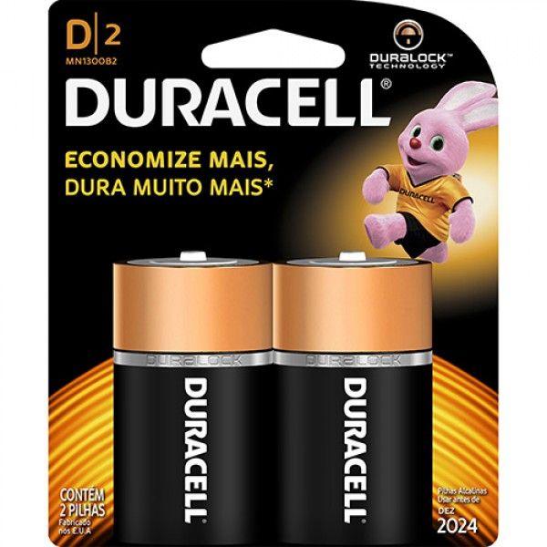 Pilha Alcalina Grande D com 2 unidades - Duracell
