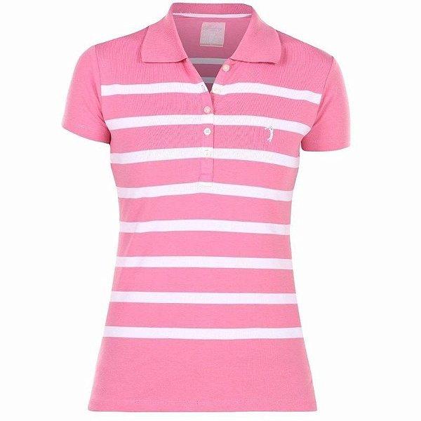 Polo Aleatory Feminina Listrada Rosa e Branco - Loja do Alemão 76ed5c5ed57dd