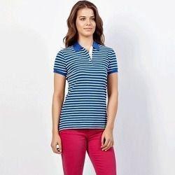 Polo Nautica Feminina Listrada Azul