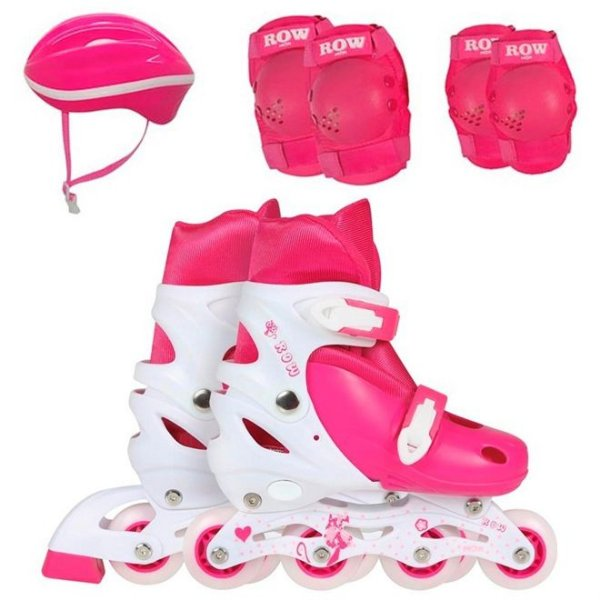 Kit Roller Infantil (Joelheira, Capacete e Cotoveleira) Rosa Tamanho M (35-38) - Mor