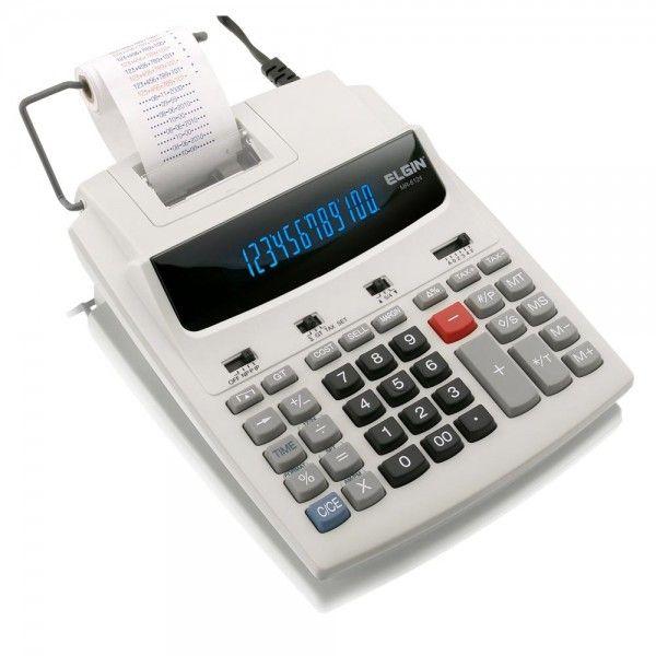 Calculadora de Mesa 12 digitos, imprimi Data, calendário e relógio, Bivolt MR-6124 Elgin
