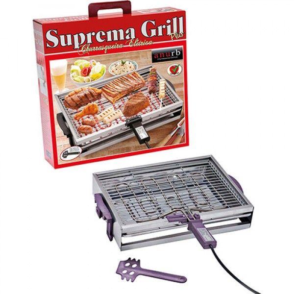 Churrasqueira Elétrica Anurb Suprema Grill Plus com Grelha Removível e Espátula Limpeza Lilás 220v