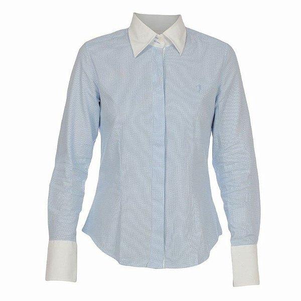 Camisa Aleatory Punho e Gola Xadrez Azul e Branco