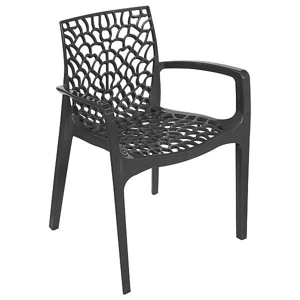 Cadeira Gruvyer com Braço Preta - Or Design