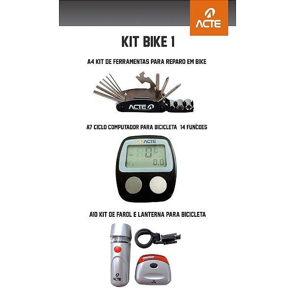 Kit Bike 1: Kit de Ferramentas p/ Reparo bikes + Ciclo Computador p/ bicicleta - 14 funções + Kit de farol e lanterna p/ bicicleta 7 funções