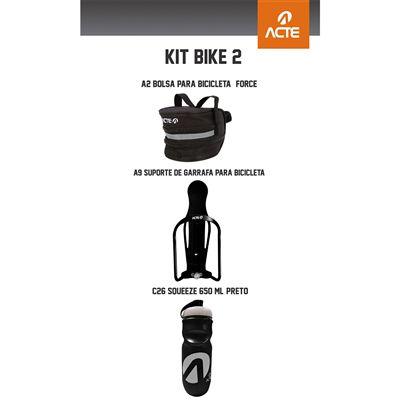 Kit Bike 2: Bolsa p/ Bicicleta - Force Sistema de Fixação c/ Velcro + Suporte de Garrafa p/ Bicicleta + Squeeze 650 ml - Preto