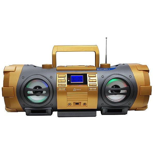 Rádio FM Estéreo com CD, MP3, USB, Bluetooth, Entrada Auxiliar e Controle Remoto Dourado - Lenoxx