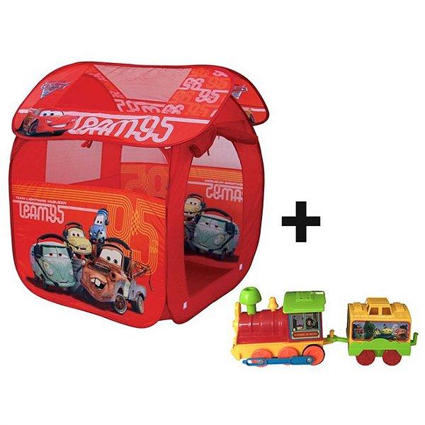 Kit Barraca Portátil Carros GF001B Zippy Toys + Trenzinho à Pilha Toy Story - Toyng