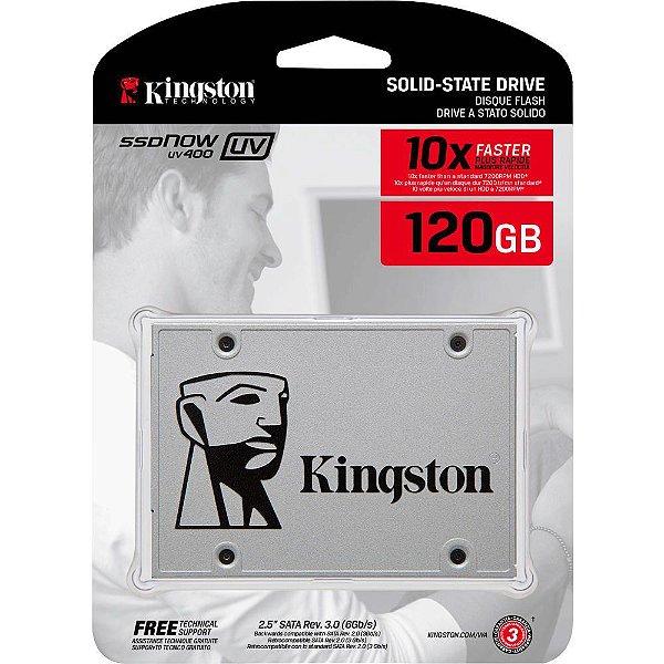 SSD Kingston 2.5´ 120GB UV400 SATA III Leituras: 550MBs, Gravações: 350MBs - SUV400S37/120G