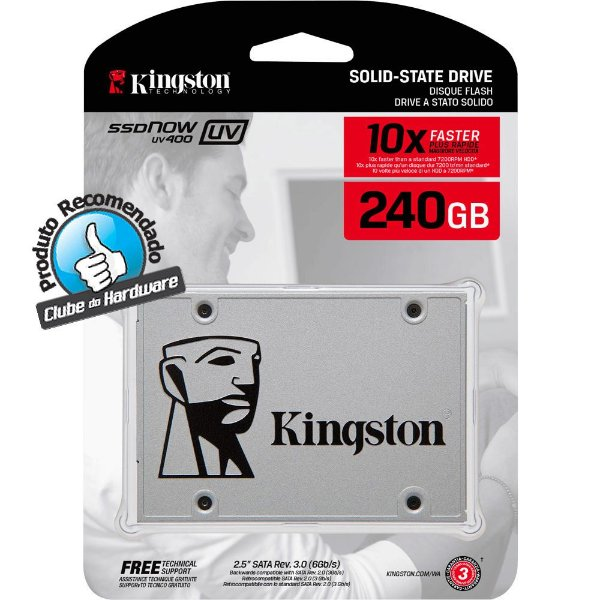 SSD Kingston 2.5´ 240GB UV400 SATA III Leituras: 550MBs, Gravações: 490MBs - SUV400S37/240G