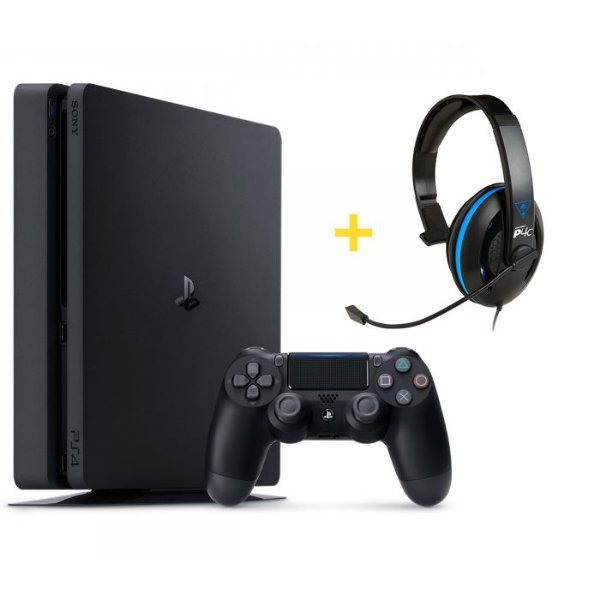 Console Playstation 4 Slim 500GB + Headset Ear Force P4C com Microfone - Turtle Beach