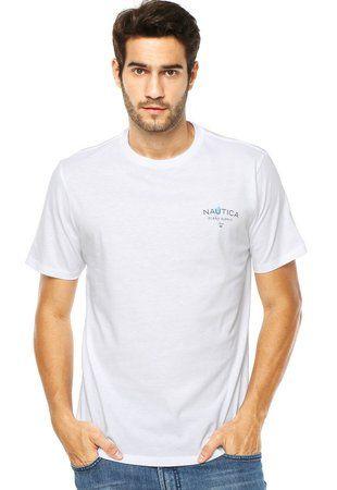 Camiseta Nautica Masculino Branca estampa nas costas