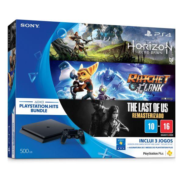 Console Sony Playstation 4 500Gb Slim Bundle Hits (Horizon Zero Dawn, Ratchet & Clank e The Last Of Us) - Sony Brasil