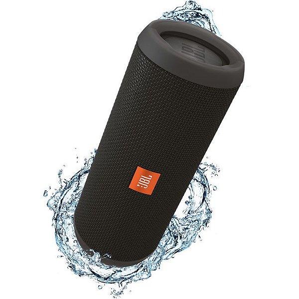 Caixa de Som Portátil Bluetooth Stereo Speaker JBL Flip 3 Preta À Prova d'agua