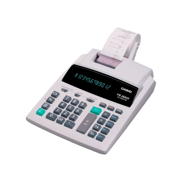 Calculadora com impressora 2,4 linhas / seg, 12 dígitos e bobina de 58 mm - FR-2650T-220 - Casio