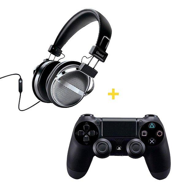 Kit Controle sem Fio para Playstation 4 Com Fone de ouvido tipo headphone com microfone e controle de volume - DGHP5526