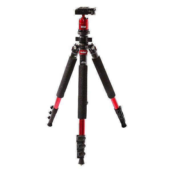 Tripé fotográfico em magnésio com extensão de até 1,57m vermelha VIVMPT600 - Vivitar