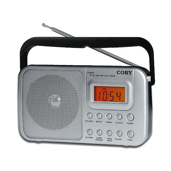 Rádio portátil AM/FM/SW1/SW2 com relógio e alarme - CR201 - Coby