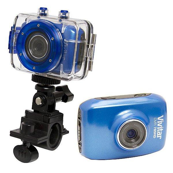 Câmera filmadora de ação HD com caixa estanque e acessórios azul - DVR785HD - Vivitar