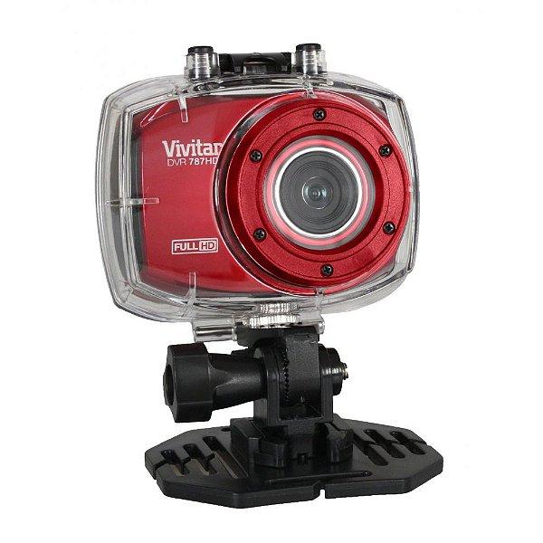Câmera filmadora de ação Full HD com caixa estanque e acessórios vermelha - DVR787HD - Vivitar