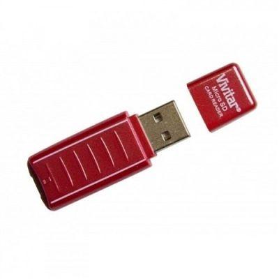 Leitor e gravador de cartão micro SD via USB vermelha - VIVRW1000 - Vivitar