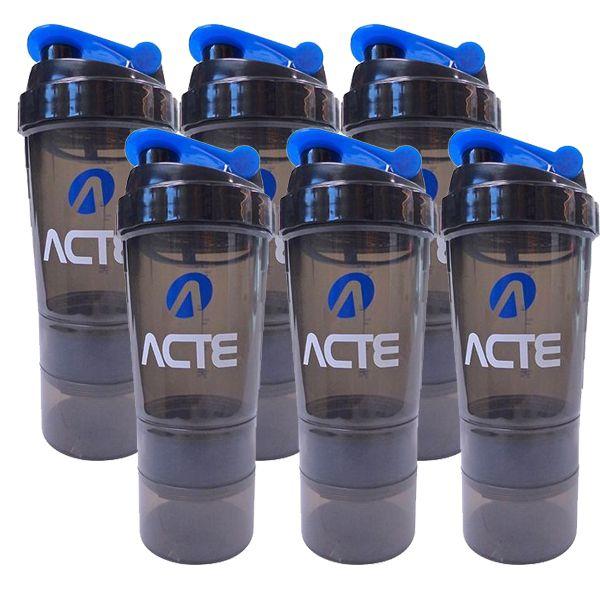 Kit 6 unidades Coqueteleira 3 em 1 Azul 500ml Acte Sports C21