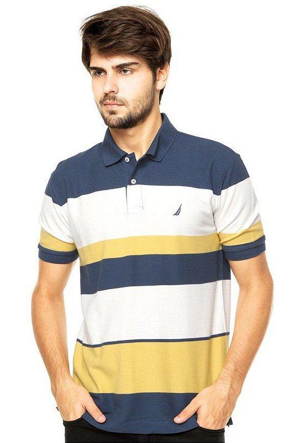 Camisa Polo Nautica Azul e Branco e Amarela