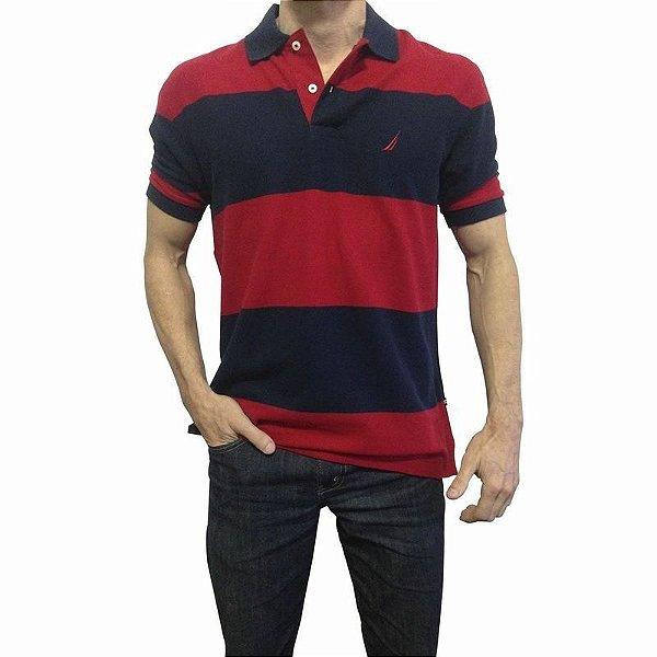 Camisa Polo Nautica Azul e Vermelho