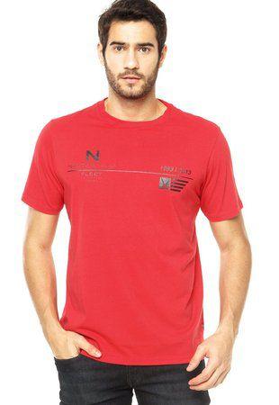 Camiseta Nautica Masculino Vermelha