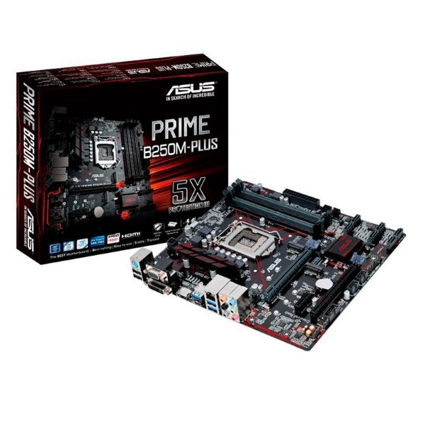 Placa-Mãe ASUS p/ Intel LGA 1151 mATX PRIME B250M-PLUS, 4x DDR4, Safe Slot, Áudio Gamer
