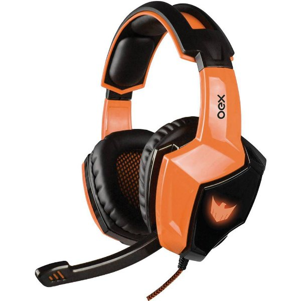Headset Gamer OEX 7.1 Eagle com LED HS-401 Preto e Laranja para PC e PS4