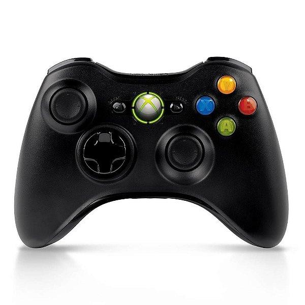 Controle Microsoft Xbox 360 Original Sem Fio Preto