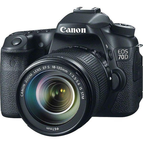 Câmera Digital Canon EOS 70D 20.2 Megapixels com Lente EF-S 18-135mm STM