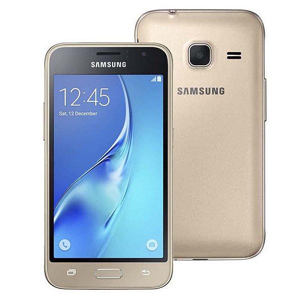 """Samsung Galaxy J1 Mini Duos Dourado com Dual Chip, Tela 4.0"""", 3G, Câmera de 5MP, Android 5.1 e Processador Quad Core de 1.2 GHz"""