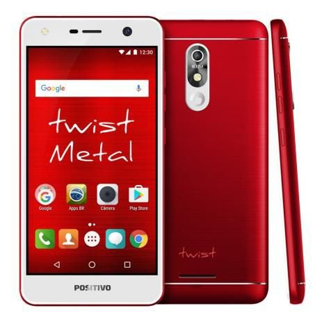 "Smartphone Positivo Twist S530-Android 7.0 5.2"" 16GB Câmera 8MP - Verm"