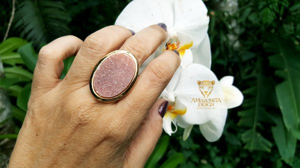 Anel Quartzo Rosa Geodo ou Drusa Mega Maxi Oval Exclusivo 5