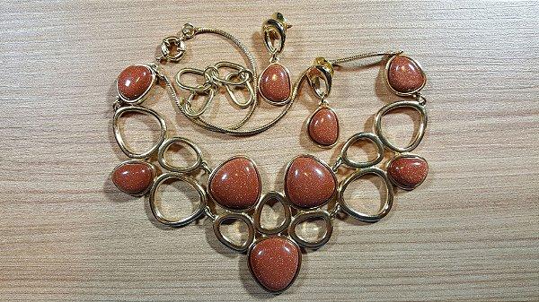 Colar Gargantilha e Brincos Pedra do Sol Maxi Amazon