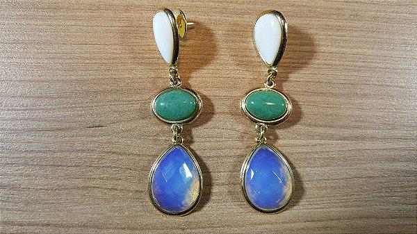 Brincos Cristal de Quartzo verde oval, Madrepérola e Opalina 3/7,4cm Amazon