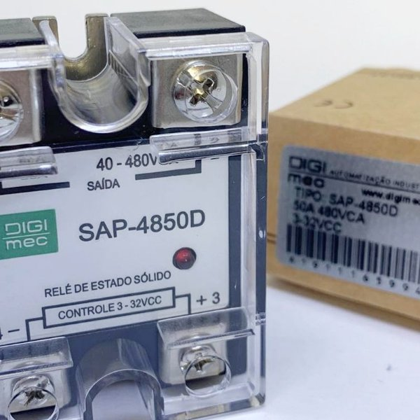 Relé de Estado Sólido monofásico 50A, SAP-4850D.