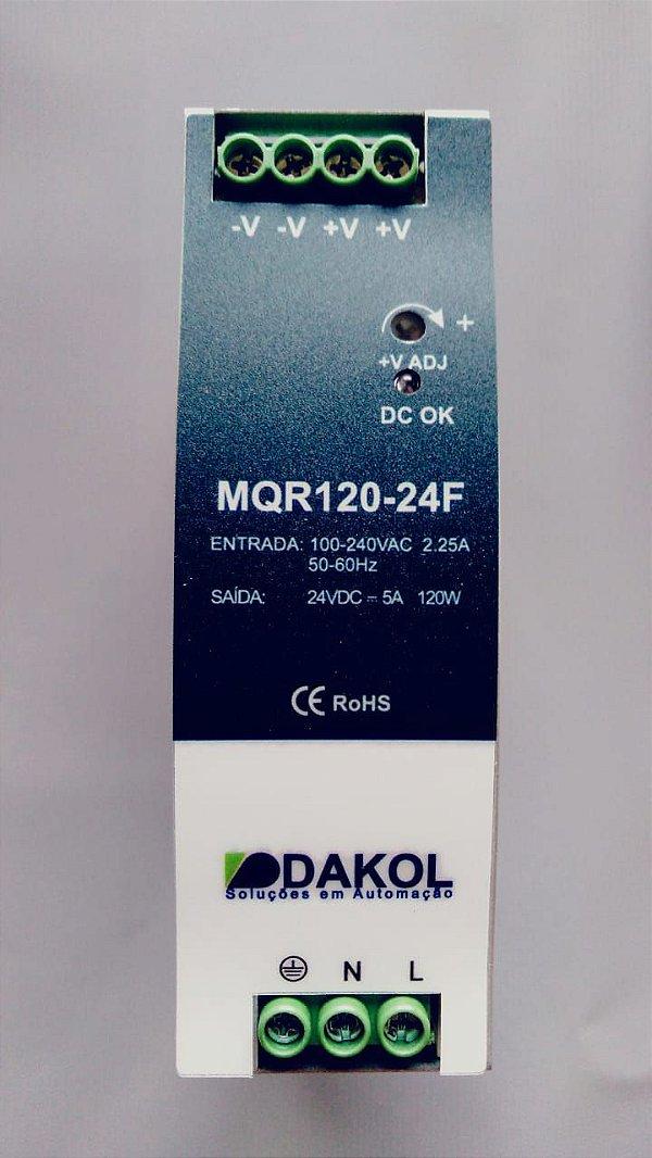 Fonte de alimentação chaveada, MQR120-24FR, 120W, 24Vcc, 5A